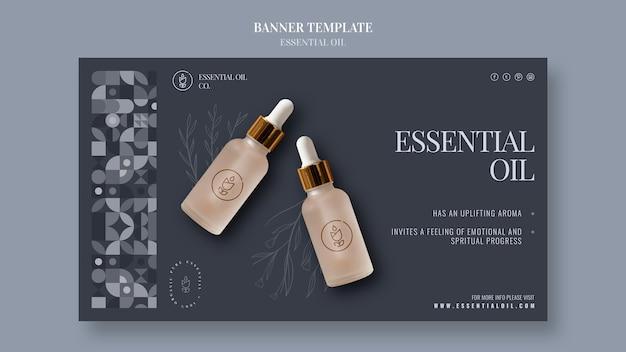 Banner horizontal com cosméticos de óleo essencial