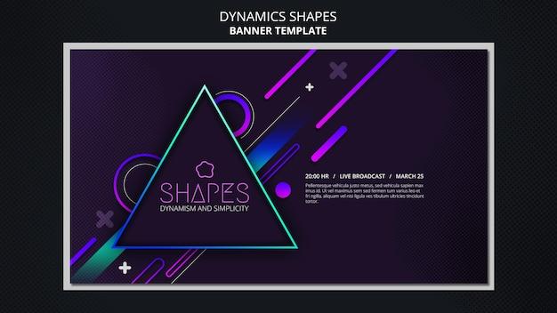 Banner horizontal com formas geométricas de néon dinâmicas