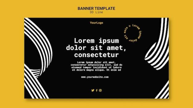 Banner horizontal com linhas tridimensionais
