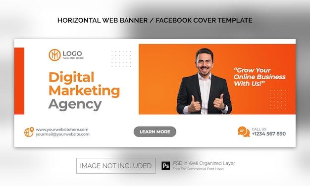 Banner horizontal corporativo de agência de marketing digital ou modelo de publicidade de capa do facebook