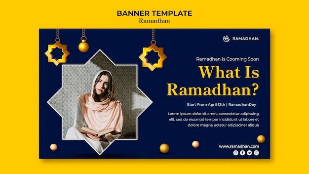 Banner horizontal da celebração do ramadã