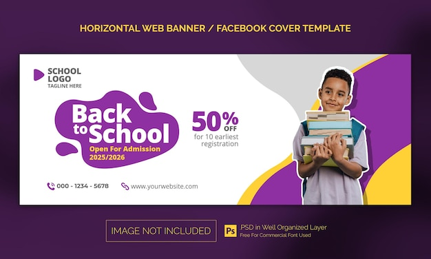 Banner horizontal de admissão de volta às aulas ou modelo de publicidade na capa do facebook