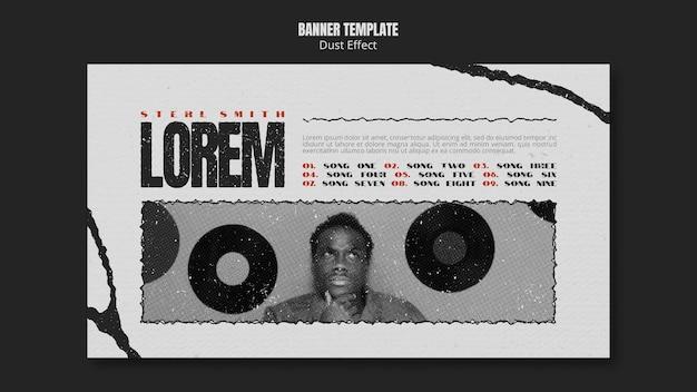 Banner horizontal de álbum de música com efeito de poeira