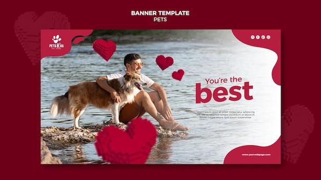 Banner horizontal de animais de estimação com foto
