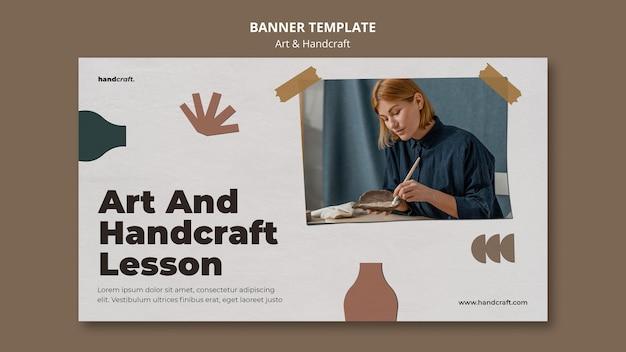 Banner horizontal de arte e artesanato