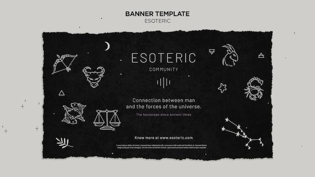 Banner horizontal de artesanato esotérico