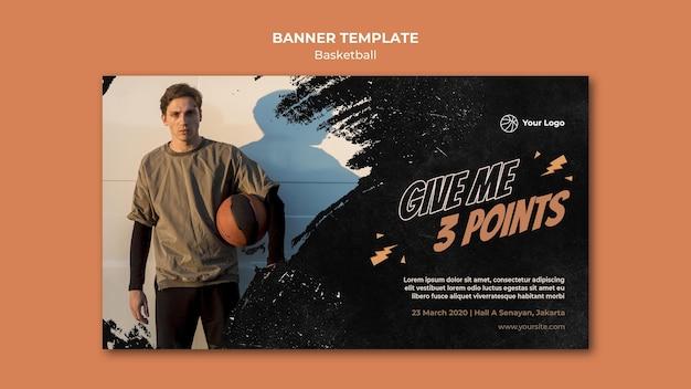 Banner horizontal de basquete com foto