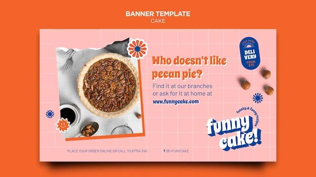 Banner horizontal de bolo delicioso