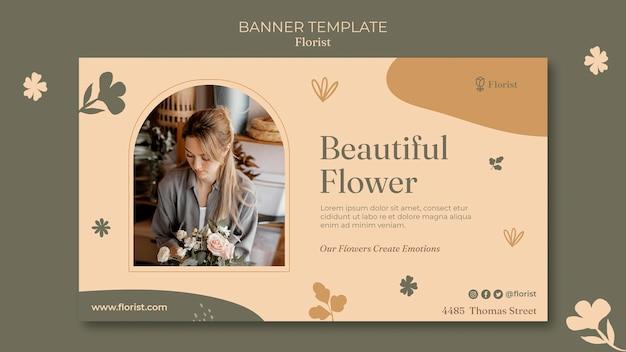 Banner horizontal de buquê de flores