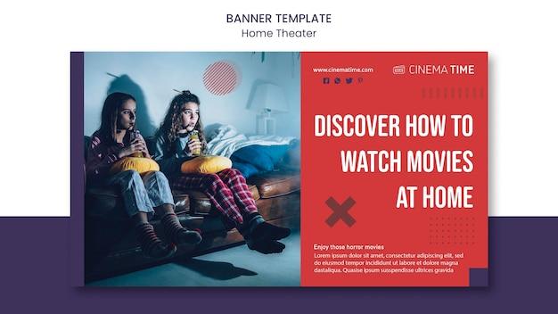 Banner horizontal de cinema em casa
