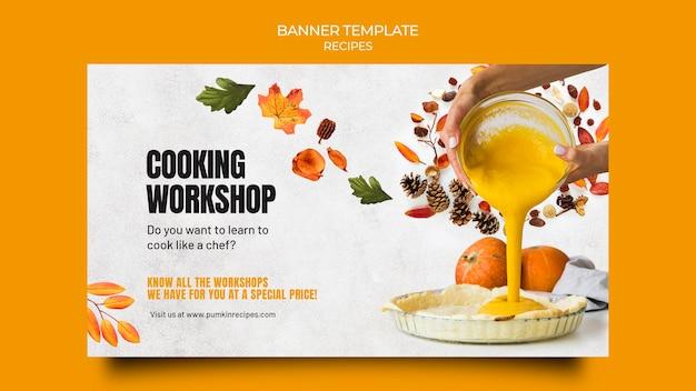 Banner horizontal de comida de outono