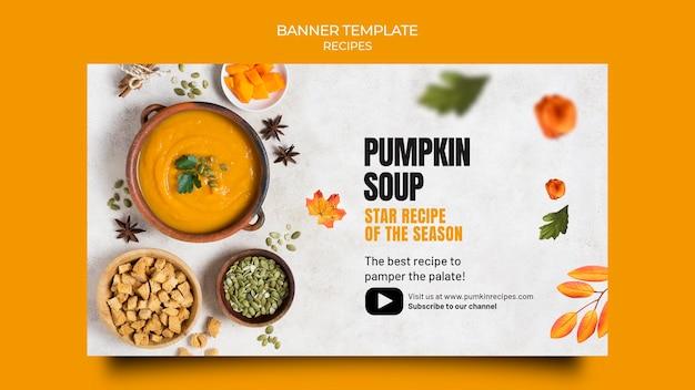 Banner horizontal de comida deliciosa de outono