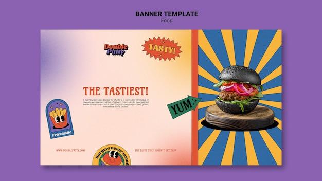 Banner horizontal de comida deliciosa