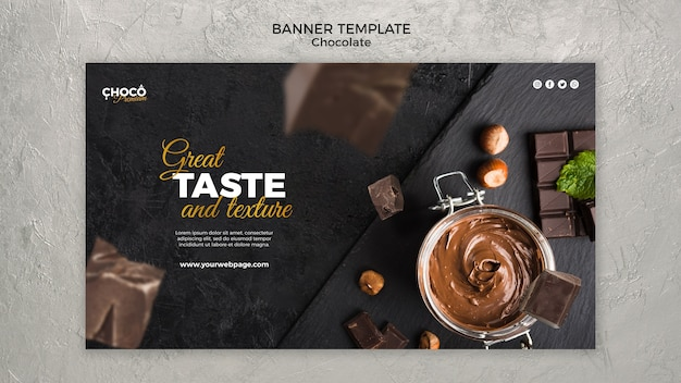 Banner horizontal de conceito de chocolate