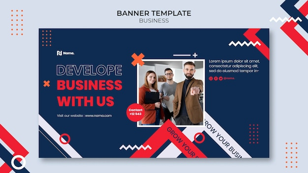 Banner horizontal de conceito de negócio