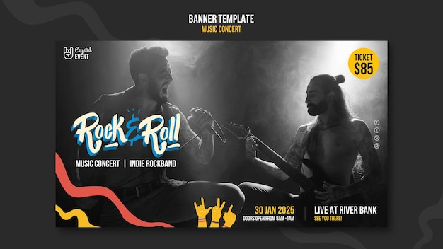 Banner horizontal de concerto de rock