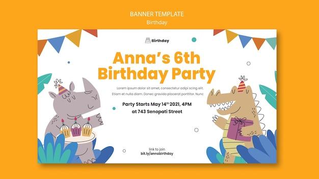 Banner horizontal de convite de aniversário