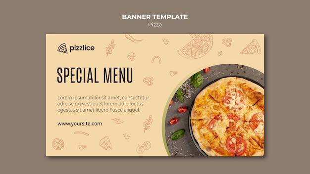 Banner horizontal de deliciosa pizza