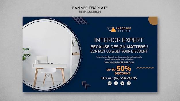 Banner horizontal de design de interiores