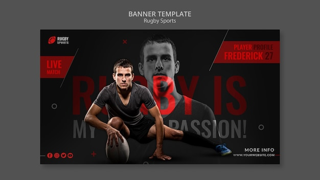 Banner horizontal de esportes de rúgbi
