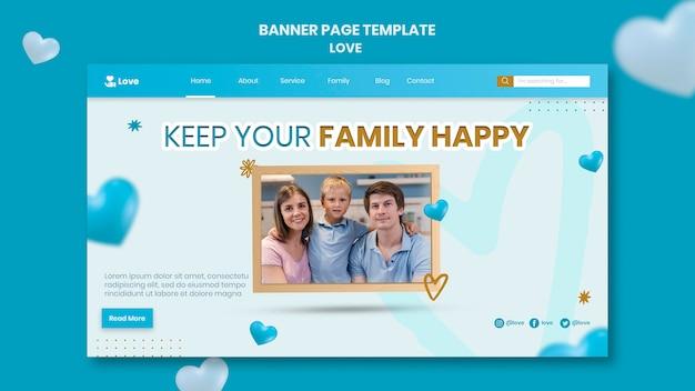 Banner horizontal de família feliz