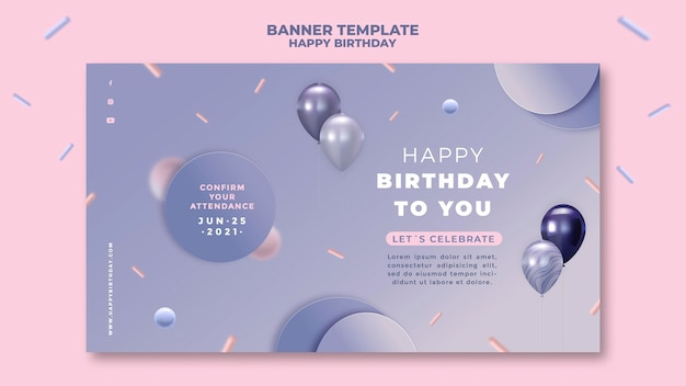 Banner horizontal de feliz aniversário