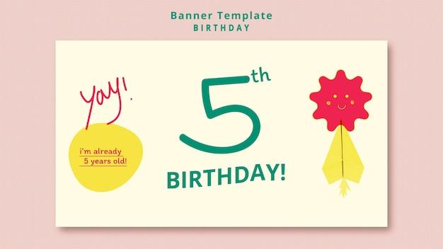Banner horizontal de festa de aniversário