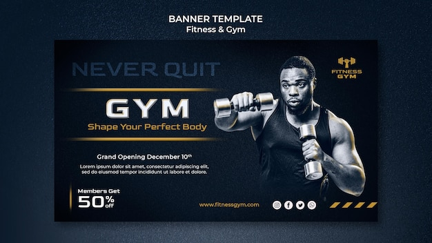 Banner horizontal de fitness de academia