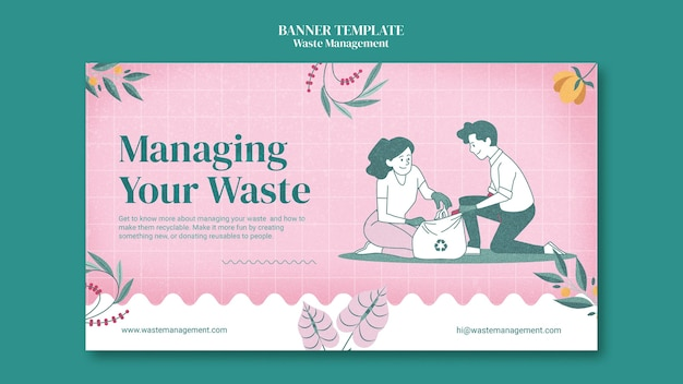 Banner horizontal de gerenciamento de resíduos