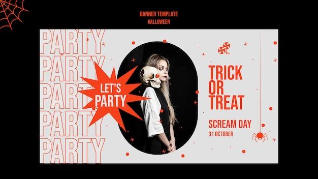 Banner horizontal de halloween com foto