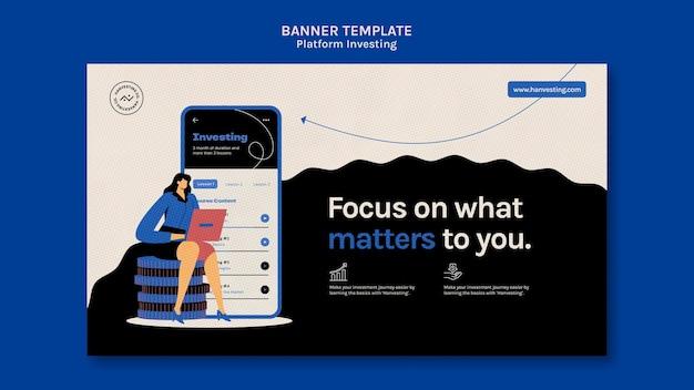 Banner horizontal de investimento de plataforma