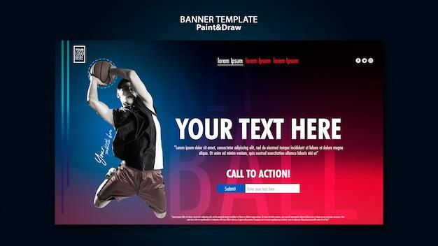 Banner horizontal de jogador de basquete