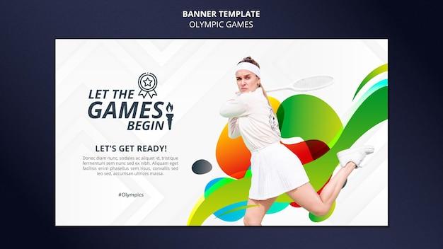 Banner horizontal de jogos de esporte com foto
