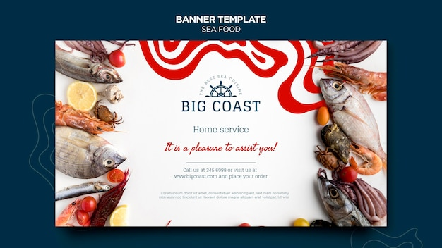 Banner horizontal de marisco delicioso
