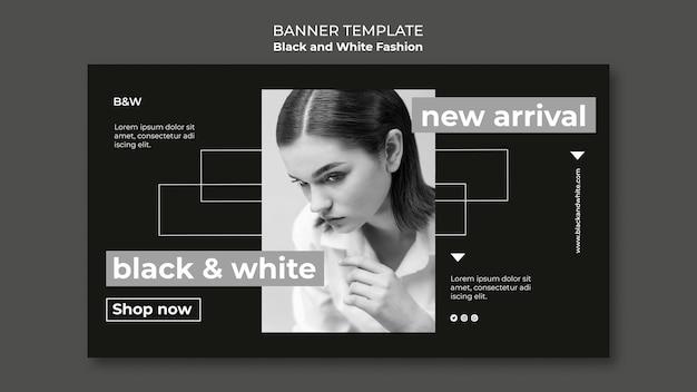 Banner horizontal de moda preto e branco