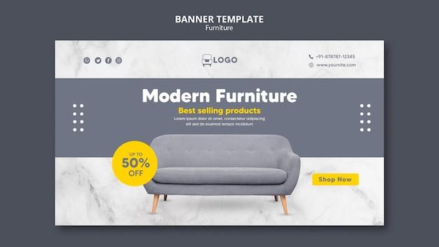 Banner horizontal de móveis modernos