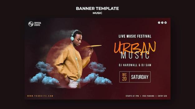 Banner horizontal de música urbana