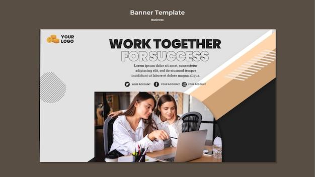 Banner horizontal de negócios com foto