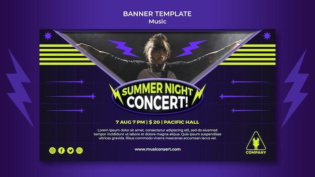 Banner horizontal de néon para show noturno de verão