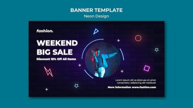 Banner horizontal de néon para venda em loja de roupas
