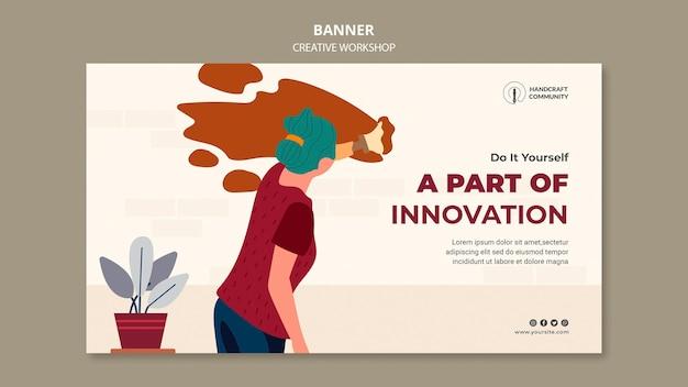 Banner horizontal de oficina inovadora