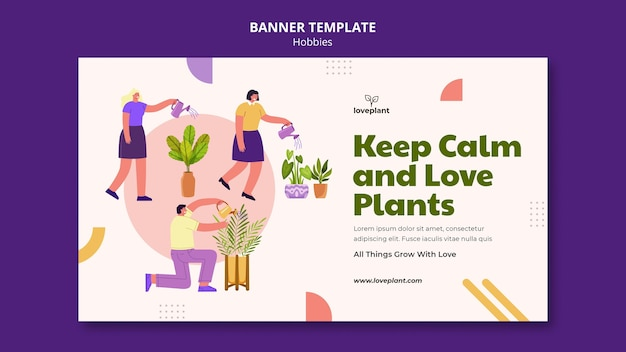 Banner horizontal de passatempo de jardinagem