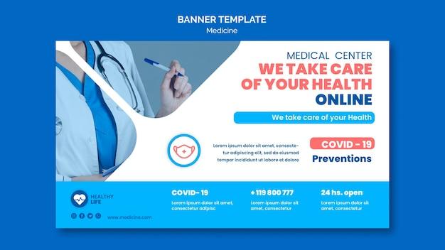 Banner horizontal de prevenção covid19 de medicamento