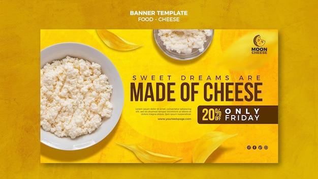 Banner horizontal de queijo delicioso