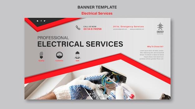 Banner horizontal de serviços elétricos