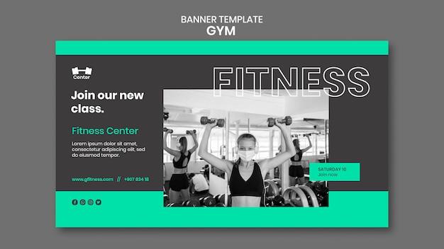 Banner horizontal de treino de ginásio