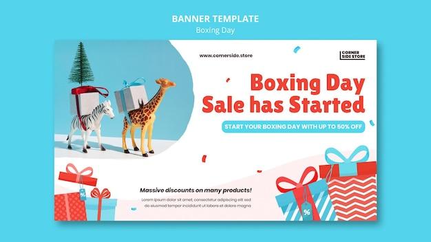 Banner horizontal de venda de boxing day