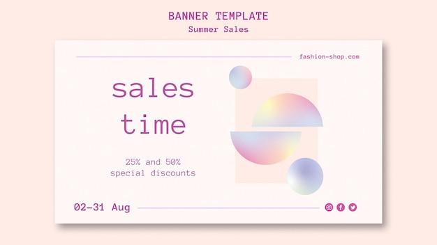 Banner horizontal de vendas de verão