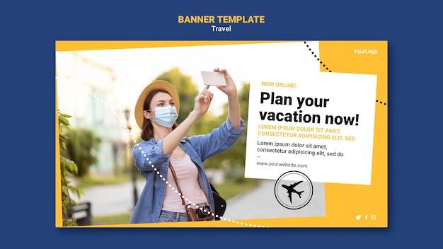Banner horizontal de viagem com foto