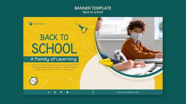Banner horizontal de volta às aulas com foto